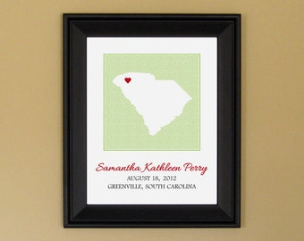 Gift for New Mother - Personalized Baby Name Sign - Nursery Art Print - Custom South Carolina Map - 11 x 14