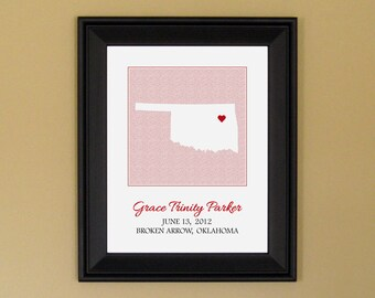 Personalized Baby Girl Gift - Custom Birth Announcement Print - Nursery Art - Oklahoma Heart Map - 11 x 14