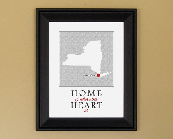 New York Map  - Home Is Where the Heart Is - Home Sweet Home - Personalized Housewarming Gift - College Graduation - 11 x 14