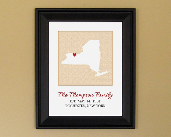Custom Family Art - Established Sign - Personalized Anniversary Gift - Custom New York State Map - 11 x 14