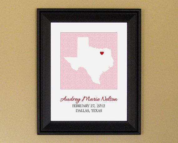 Baby boy gift personalized baby name art print new mother baby boy gift personalized baby name art print new mother gift custom texas state map 11 x 14 negle Images