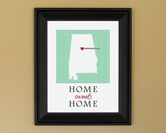 Alabama State Heart Map - Home Sweet Home - Home Is Where the Heart Is - Personalized Housewarming Gift - College Graduation - 11 x 14