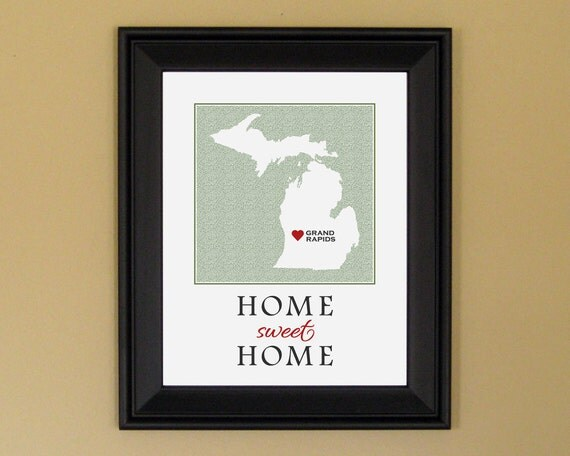 Michigan Custom Map - Home Is Where the Heart Is - Home Sweet Home - Personalized Housewarming Gift - College Graduation Present - 11 x 14