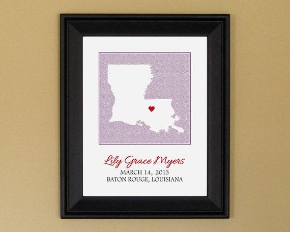 Art for Nursery - Personalized Birth Announcement Print - New Mom Gift - Custom Louisiana Map - 11 x 14