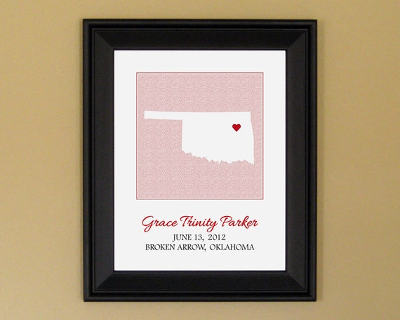 Personalized Baby Girl Gift - Custom Birth Announcement Print - Nursery Art - Oklahoma Heart Map - 11 x 14