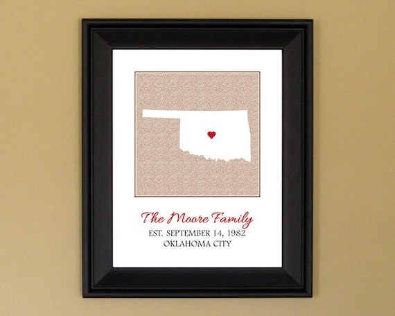 Custom Family Sign with Established Date - Personalized Anniversary Gift - Customized Oklahoma State Print - 11 x 14