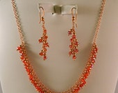Copper and Red Crystal Necklace & Earring Set
