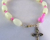 White and Pink Chaplet Bracelet