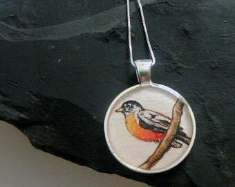 robin necklace, bird jewelry, orange hand painted silver pendant