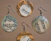 Green/Orange & White Sheet Music Paper Earrings from Vintage 1930's Polka Music
