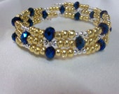 Gold, Silver and Blue Memory Wire Bracelet