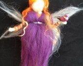 Waldorf inspired angel with bird
