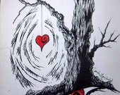 RESERVED for Moonchild84: Original Drawing Gothic Tree with Heart 9x12