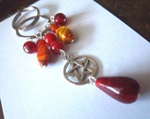 Red Beaded Pentacle Pagan Keychain FREE SHIPPING