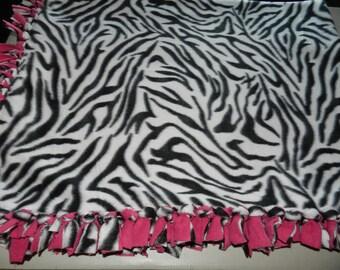 Zebra Print Fleece Tie Blanket W/ Pink Contrast