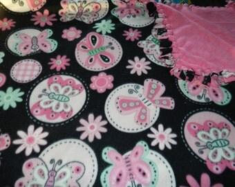 Butterflies Fleece Ties Blanket