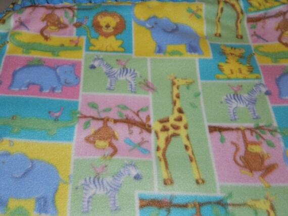 Zoo Animals Fleece blanket, Animals fleece ties blanket