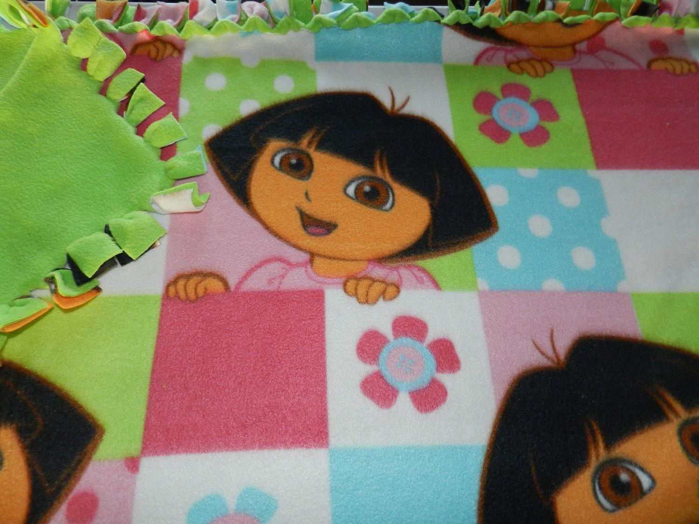 Dora The Explorer Fleece Tie Blanket Pink Blue And Green