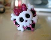 Pink glitter skull ring