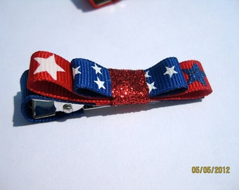 4th of July, Red, White, and Blue Glittery Star Hair Clip-last one left being discontinued!