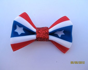 4th of July, Red, White, and Blue Star Hair Clip With Bow-last one left being discontinued!