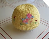 Knit Baby Hat with Summer Bird