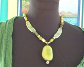 Boro Beads and Organic Tagua Nut Necklace