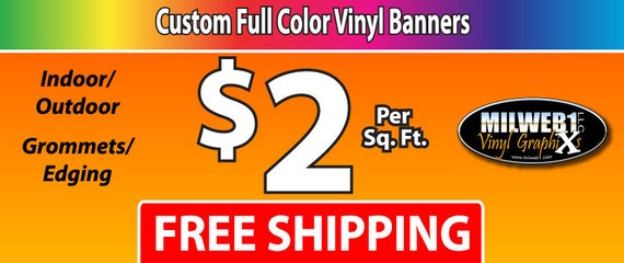 3'x10' Full Color Vinyl Banner - Free Shipping