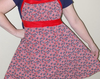 Ladies Red White and Blue Reversible Empire Waist Apron-One Size