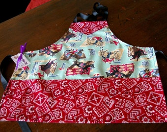 Childs Wild West Apron-Boy Size 8 - Cowboy Apron - Horses