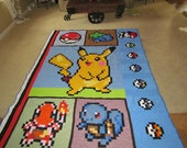 Pokemon Video Game Quilt with Pikachu, Bulbasaur, Charmander, Squirtle, Pokeball