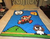 Mario Baby Toddler Quilt with Goomba Baby, Question Block, Cloud