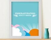 "Original Art Print ""'Procrastinators"" on blue"