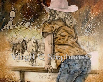 Cowgirl art, Coming For Kisses, cowgirl artwork, little girl and her horses, equine art, horse artwork, little cowgirl western print