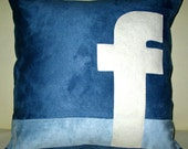 Free US shipping Unique Designer 16x16 Light and Dark Blue Suede Pillow Cover with Facebook Icon Applique