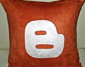 Free US shipping Unique Designer 16x16 Pumpkin and White Suede Pillow Cover with Blogger Icon Applique