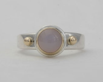 Chalcedony ring, sterling silver and 14k yellow gold, size 8 1/4, #152.