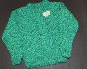 Handknit Childrens Sweater in Blue & Lime Green - Size 2