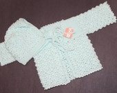 Handmade Lacey Mint Green Baby Layette Sweater & Hat Set - 0-4 months