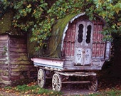 Wooden English Carriage with Hearts -- Fine Art Photo