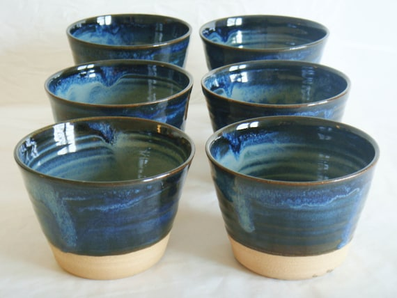 Blue ceramic cup set, six pottery cups, tumbler short, Forest series