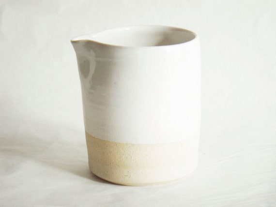 Reserved for HD: Minimal white on white pottery creamer, ceramic pitcher, Forest series