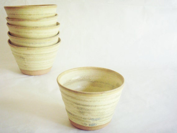 One small ceramic pottery bowl, hand thrown yellow-tan bowl, Desert series