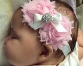 Shabby Pink Flower Headband .. Baby Girl Headband .. Newborn Headband .. Baby Headbands .. Newborn Baby Girl