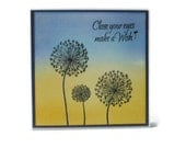 Dandelion Card, Blank, Blue and Yellow
