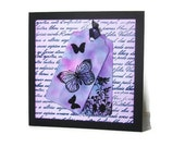 Butterfly and Flowers Card, Pink, Purple, Blue, Blank