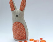 Linen Lavender Rabbit - primitive style orange