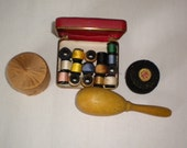 SALE Wooden Sock Darner and Sewing Kit