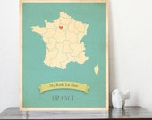 Choose Your Country Map Personalized Vintage Wall Art 11x14""