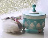 Bath Powder Container, Bath Powder Puff, Scented Dusting Powder WHIMSY (SET) Aqua and Pink Paisley
